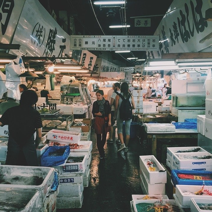 Korea, Wet, Market, Meat, Seafoods, Vendor, People